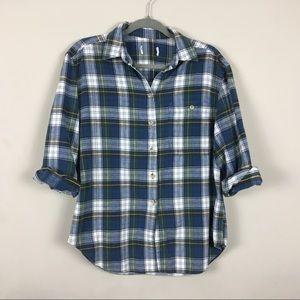 Tops - Comfy flannel shirt plaid VTG blue M EUC